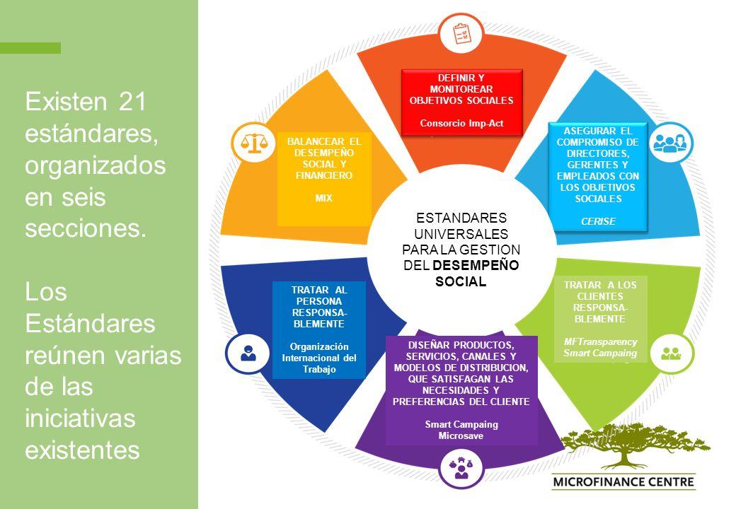 Existen 21 estándares, organizados en seis secciones.