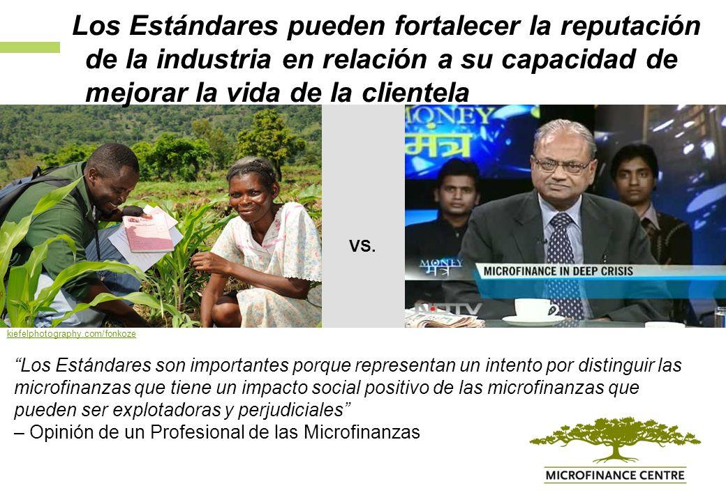 Los Estándares son importantes porque representan un intento por distinguir las microfinanzas que tiene un impacto social positivo de las microfinanzas que pueden ser explotadoras y perjudiciales – Opinión de un Profesional de las Microfinanzas VS.