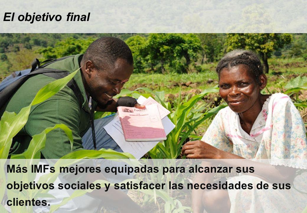 El objetivo final Más IMFs mejores equipadas para alcanzar sus objetivos sociales y satisfacer las necesidades de sus clientes.
