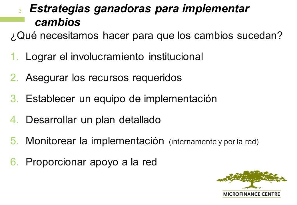 Estrategias ganadoras para implementar cambios ¿Qué necesitamos hacer para que los cambios sucedan.