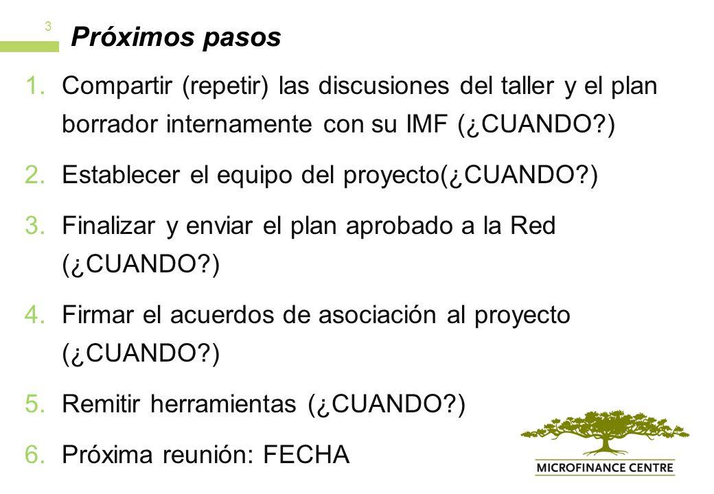 Próximos pasos 1.Compartir (repetir) las discusiones del taller y el plan borrador internamente con su IMF (¿CUANDO ) 2.Establecer el equipo del proyecto(¿CUANDO ) 3.Finalizar y enviar el plan aprobado a la Red (¿CUANDO ) 4.Firmar el acuerdos de asociación al proyecto (¿CUANDO ) 5.Remitir herramientas (¿CUANDO ) 6.Próxima reunión: FECHA 3