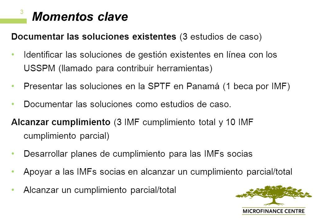 Momentos clave Documentar las soluciones existentes (3 estudios de caso) Identificar las soluciones de gestión existentes en línea con los USSPM (llamado para contribuir herramientas) Presentar las soluciones en la SPTF en Panamá (1 beca por IMF) Documentar las soluciones como estudios de caso.