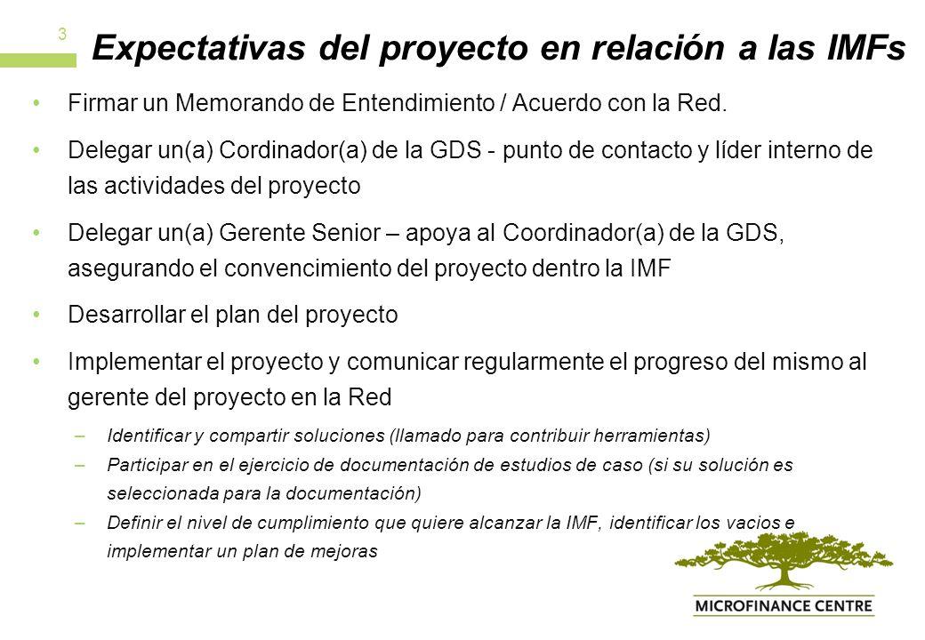 Beneficios del proyecto para las IMFs Reconocimiento como líderes por la industria.