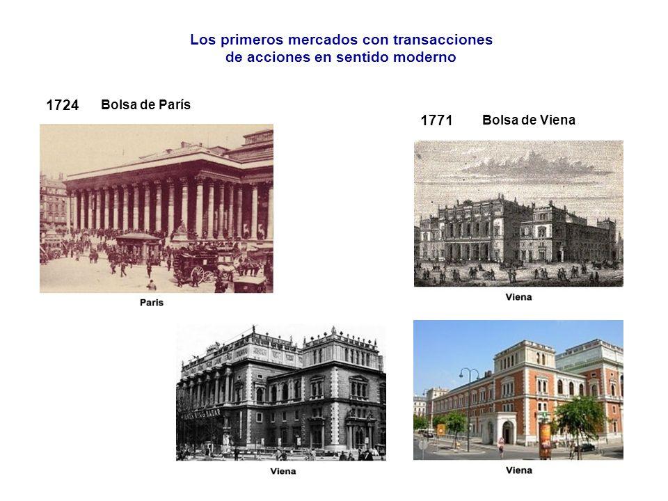 1724 1771 Bolsa de París Bolsa de Viena Los primeros mercados con transacciones de acciones en sentido moderno