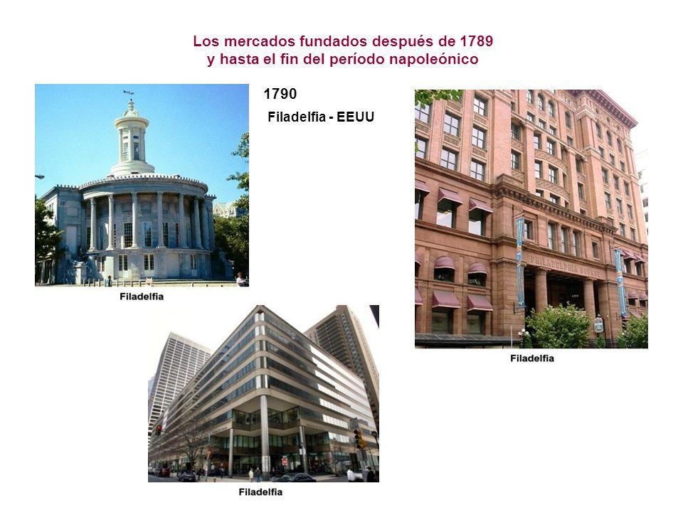 Los mercados fundados después de 1789 y hasta el fin del período napoleónico 1790 Filadelfia - EEUU
