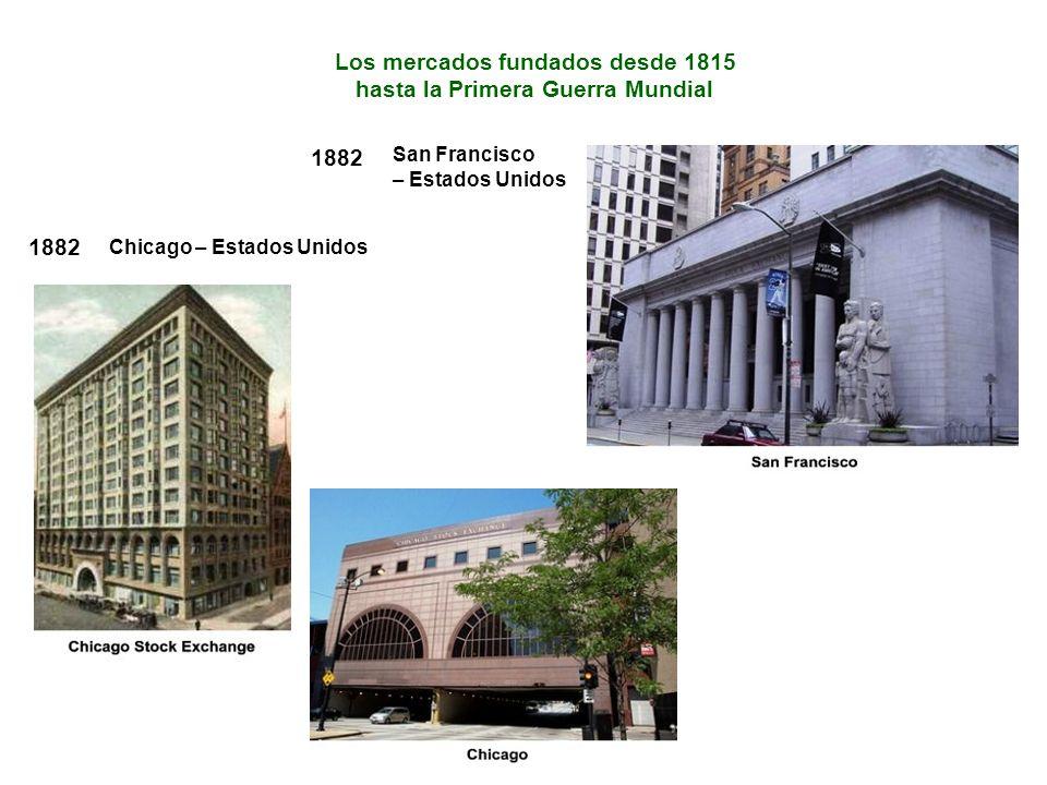 1882 Chicago – Estados Unidos Los mercados fundados desde 1815 hasta la Primera Guerra Mundial 1882 San Francisco – Estados Unidos