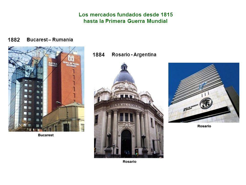 Los mercados fundados desde 1815 hasta la Primera Guerra Mundial 1882 Bucarest – Rumania 1884 Rosario - Argentina