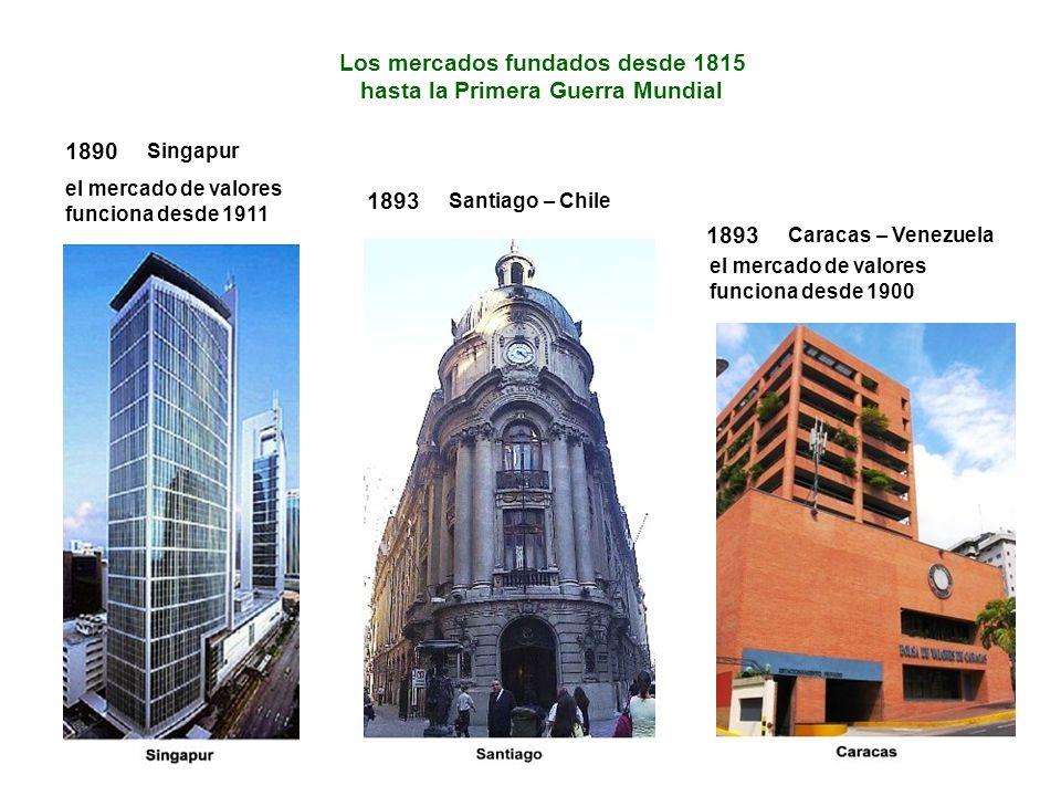 Los mercados fundados desde 1815 hasta la Primera Guerra Mundial 1893 Santiago – Chile 1893 Caracas – Venezuela el mercado de valores funciona desde 1900 1890 Singapur el mercado de valores funciona desde 1911