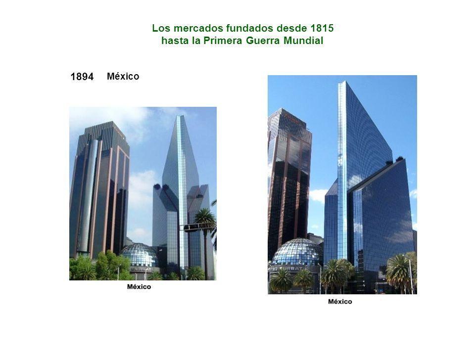 1894 México Los mercados fundados desde 1815 hasta la Primera Guerra Mundial