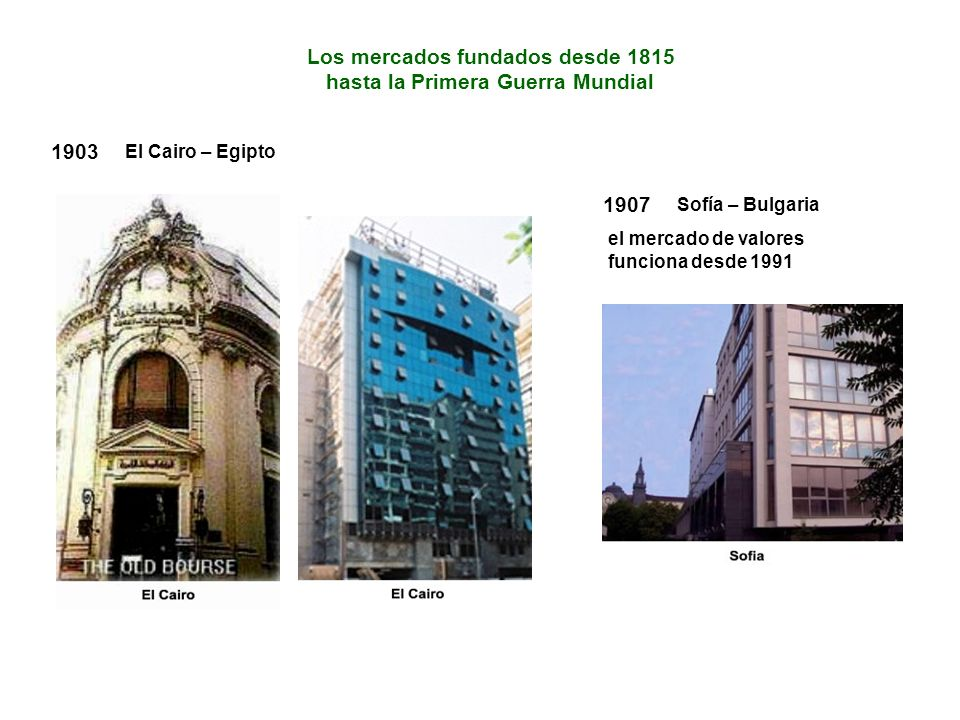 1903 El Cairo – Egipto Los mercados fundados desde 1815 hasta la Primera Guerra Mundial 1907 Sofía – Bulgaria el mercado de valores funciona desde 1991