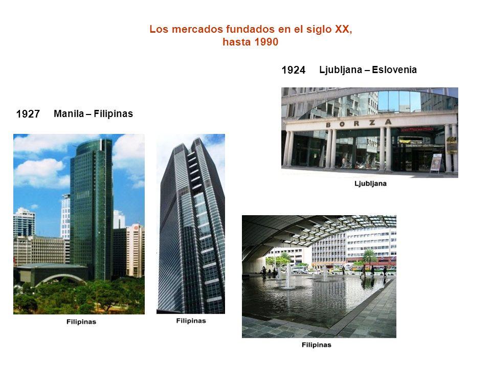 1924 Ljubljana – Eslovenia Los mercados fundados en el siglo XX, hasta 1990 1927 Manila – Filipinas