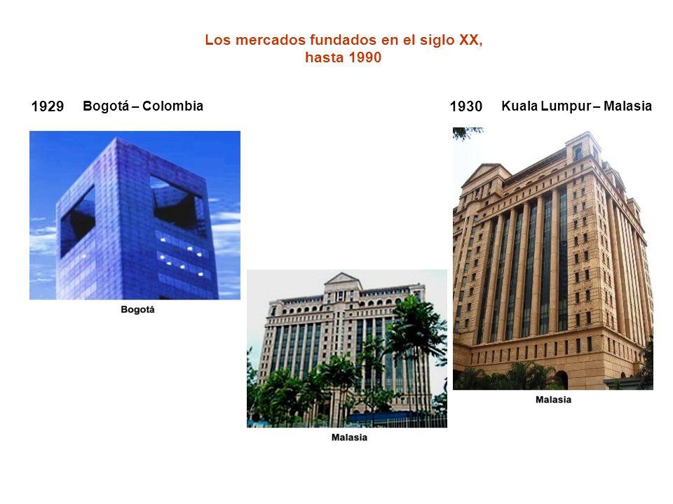 Los mercados fundados en el siglo XX, hasta 1990 1930 Kuala Lumpur – Malasia 1929 Bogotá – Colombia