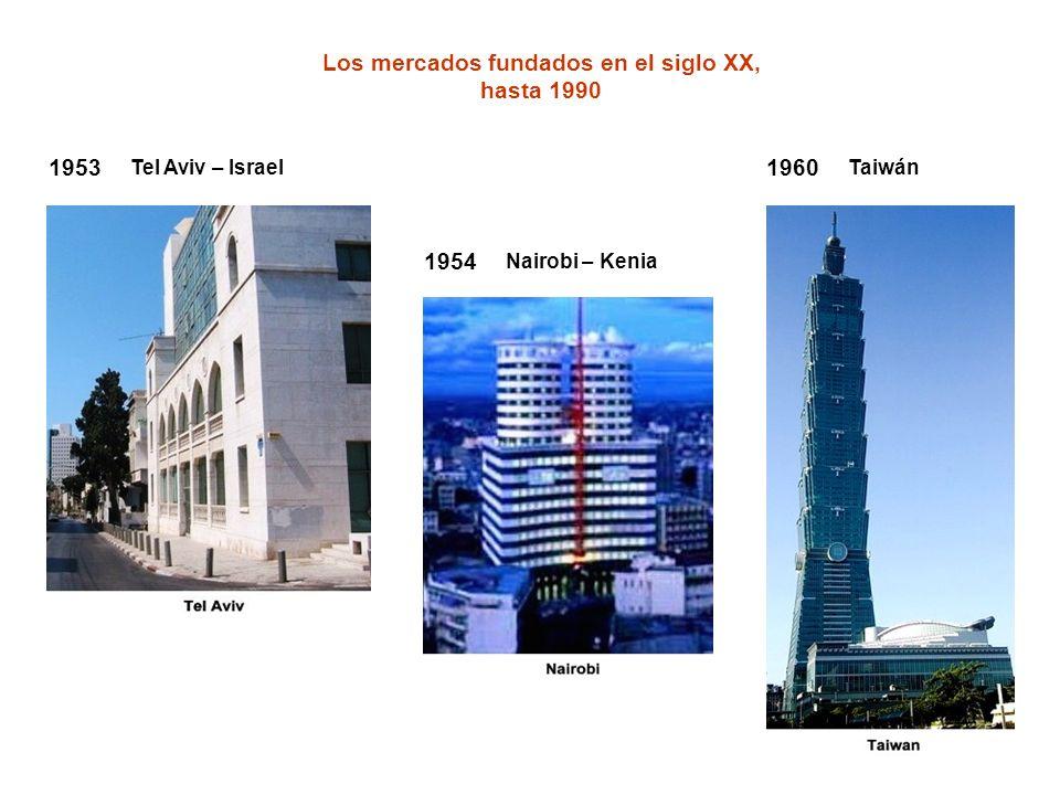 Los mercados fundados en el siglo XX, hasta 1990 1954 Nairobi – Kenia 1960 Taiwán 1953 Tel Aviv – Israel