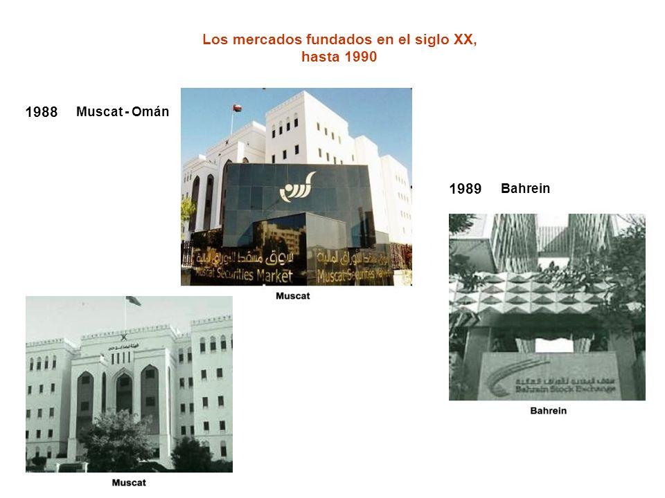Los mercados fundados en el siglo XX, hasta 1990 1988 Muscat - Omán 1989 Bahrein