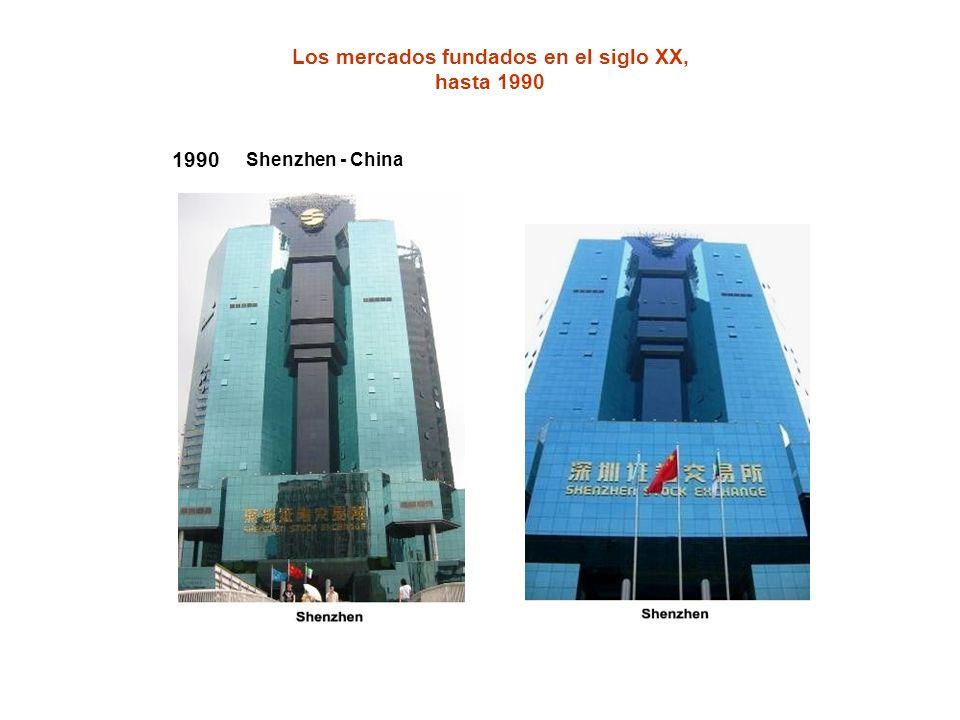 1990 Shenzhen - China Los mercados fundados en el siglo XX, hasta 1990
