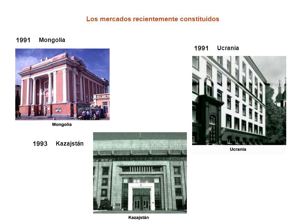 1991 Mongolia Los mercados recientemente constituidos 1991 Ucrania 1993 Kazajstán