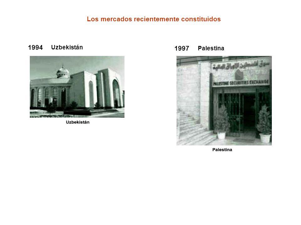 1994 Uzbekistán 1997 Palestina Los mercados recientemente constituidos