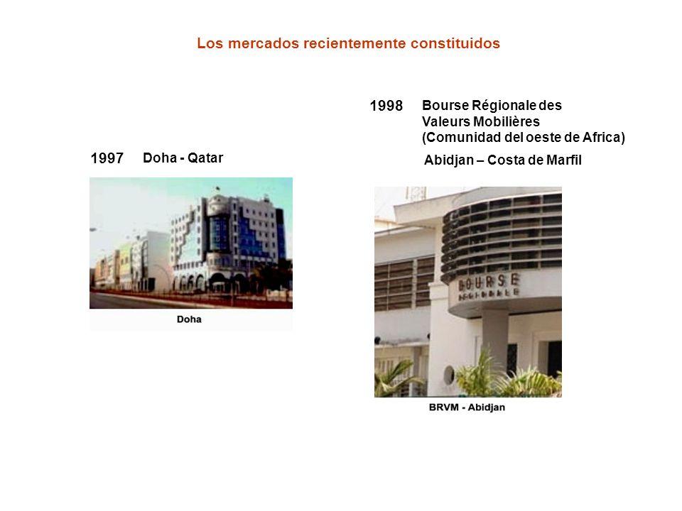 1998 Bourse Régionale des Valeurs Mobilières (Comunidad del oeste de Africa) 1997 Doha - Qatar Los mercados recientemente constituidos Abidjan – Costa
