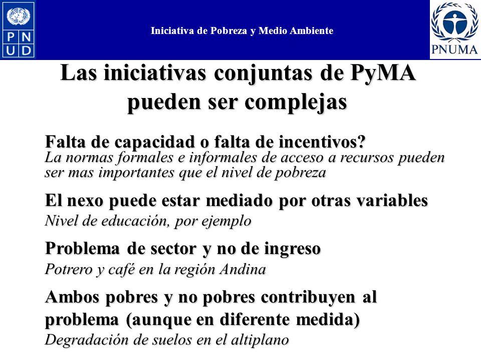 Las iniciativas conjuntas de PyMA pueden ser complejas Falta de capacidad o falta de incentivos.
