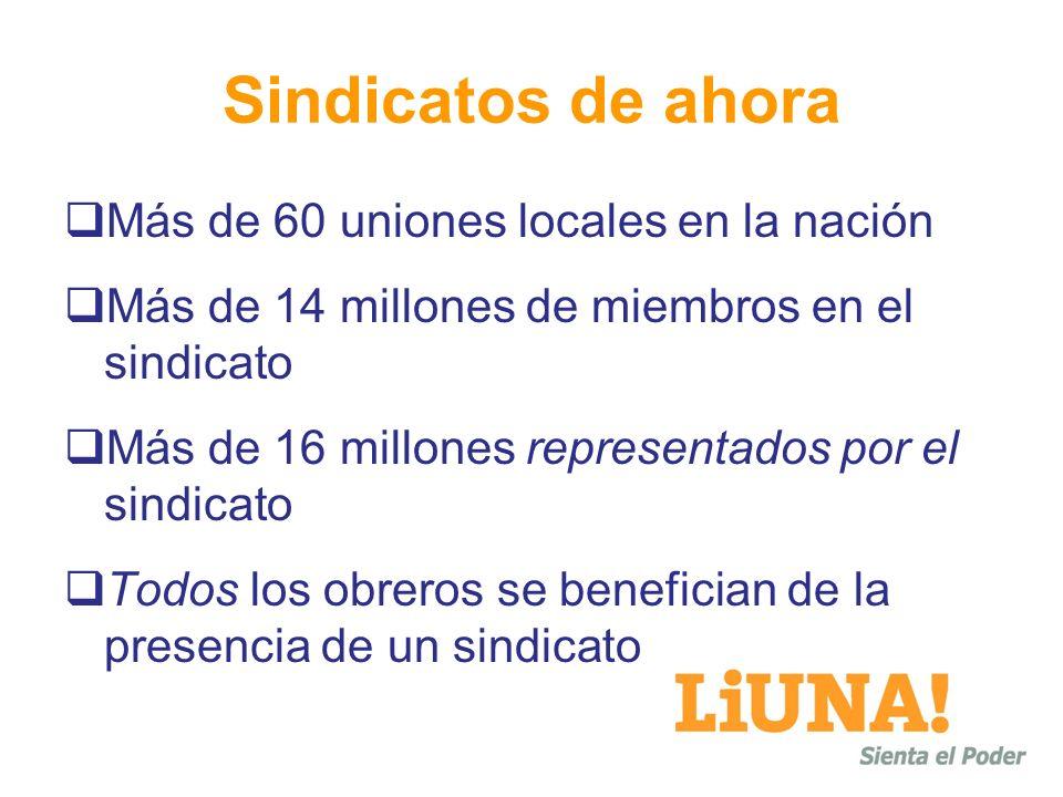 Sindicatos de ahora Más de 60 uniones locales en la nación Más de 14 millones de miembros en el sindicato Más de 16 millones representados por el sindicato Todos los obreros se benefician de la presencia de un sindicato