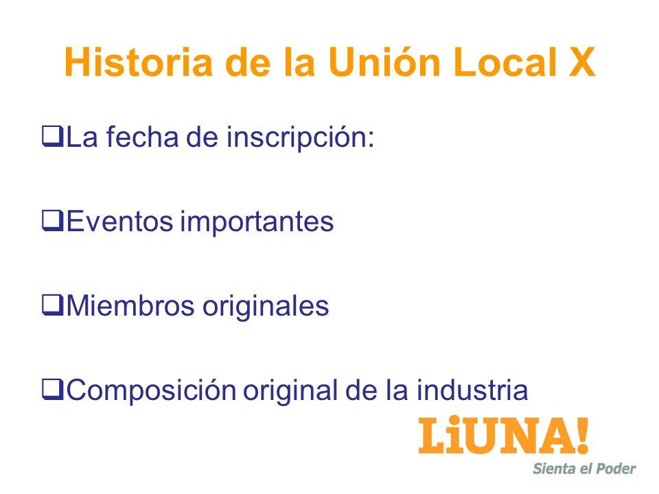 Historia de la Unión Local X La fecha de inscripción: Eventos importantes Miembros originales Composición original de la industria
