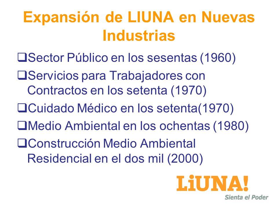 Expansión de LIUNA en Nuevas Industrias Sector Público en los sesentas (1960) Servicios para Trabajadores con Contractos en los setenta (1970) Cuidado Médico en los setenta(1970) Medio Ambiental en los ochentas (1980) Construcción Medio Ambiental Residencial en el dos mil (2000)
