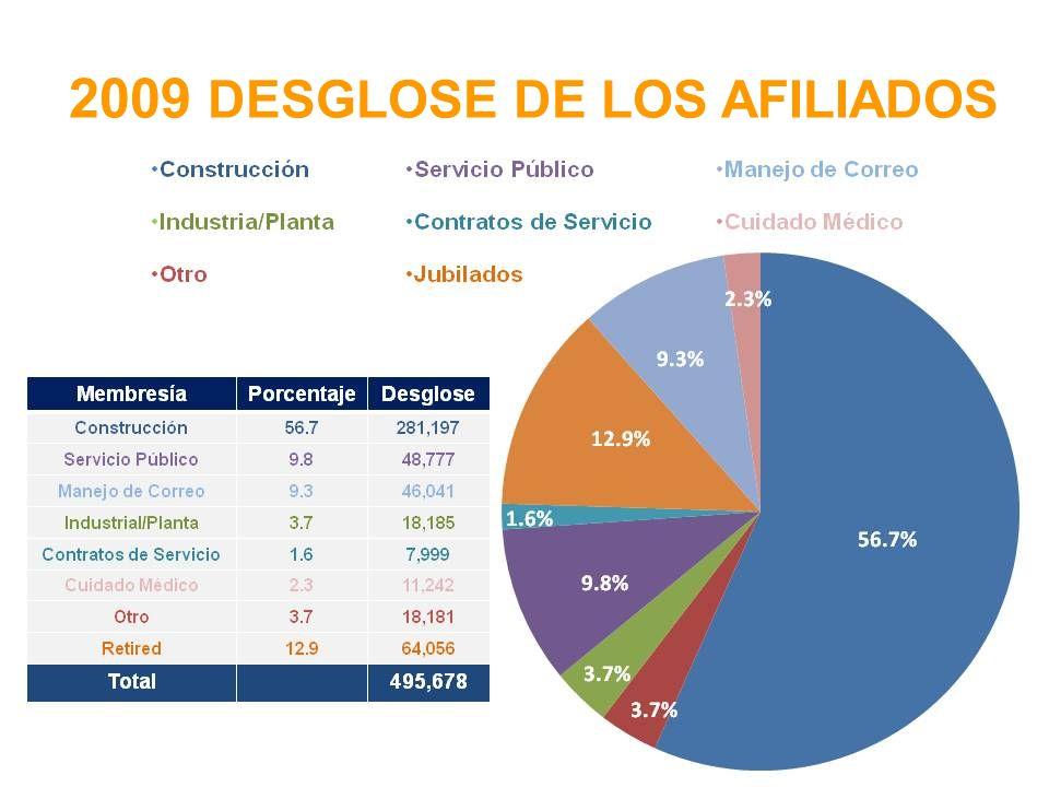 2009 DESGLOSE DE LOS AFILIADOS