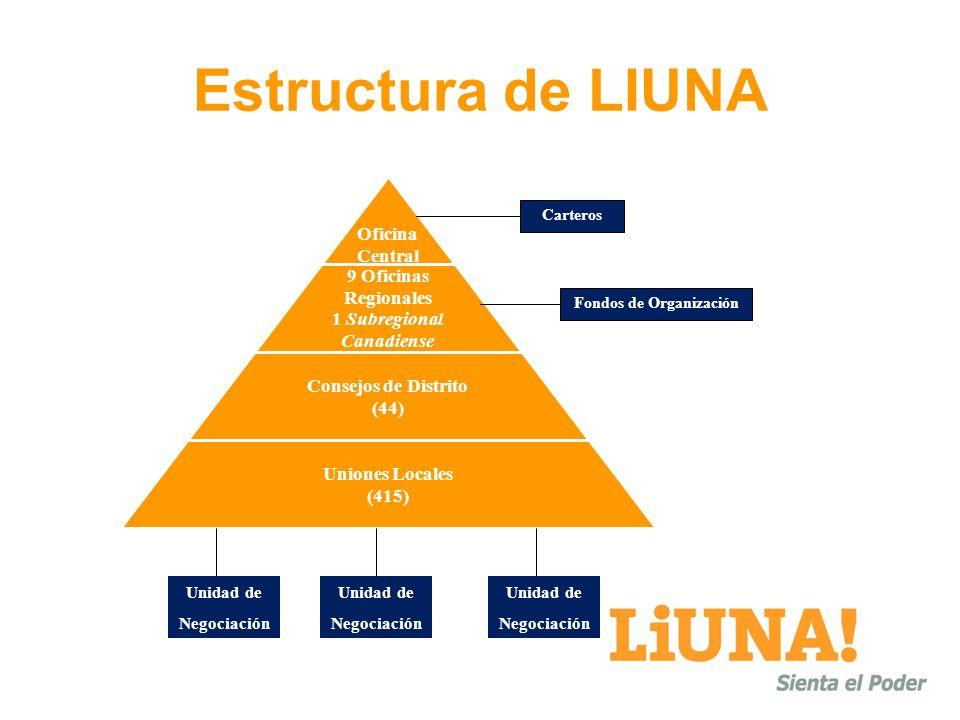 Estructura de LIUNA Oficina Central 9 Oficinas Regionales 1 Subregional Canadiense Consejos de Distrito (44) Uniones Locales (415) Carteros Unidad de Negociación Unidad de Negociación Unidad de Negociación Fondos de Organización