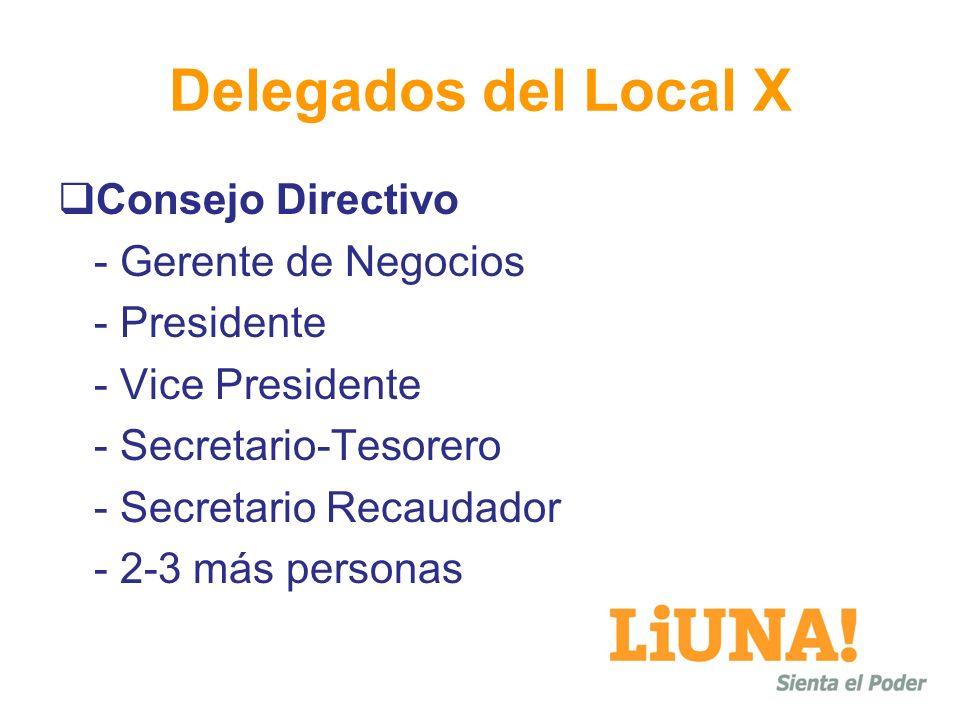 Delegados del Local X Consejo Directivo - Gerente de Negocios - Presidente - Vice Presidente - Secretario-Tesorero - Secretario Recaudador - 2-3 más p