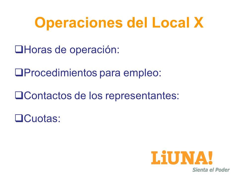 Operaciones del Local X Horas de operación: Procedimientos para empleo: Contactos de los representantes: Cuotas: