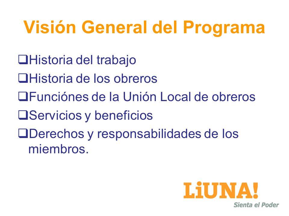 Visión General del Programa Historia del trabajo Historia de los obreros Funciónes de la Unión Local de obreros Servicios y beneficios Derechos y responsabilidades de los miembros.