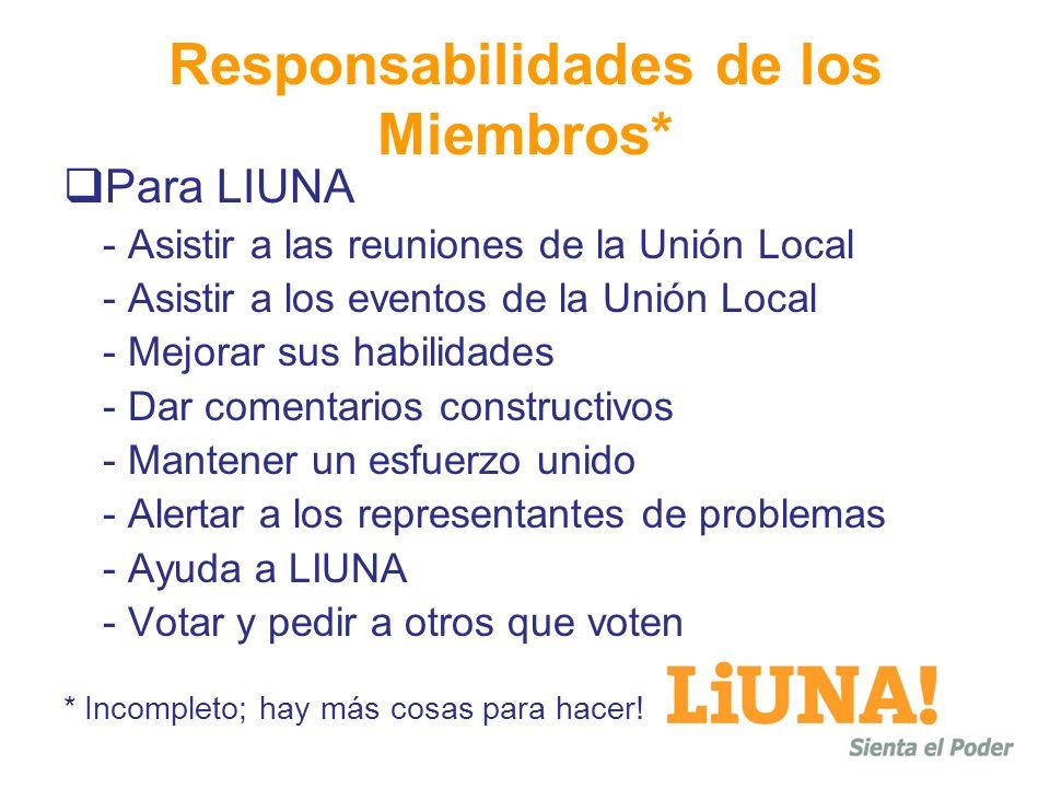 Responsabilidades de los Miembros* Para LIUNA - Asistir a las reuniones de la Unión Local - Asistir a los eventos de la Unión Local - Mejorar sus habilidades - Dar comentarios constructivos - Mantener un esfuerzo unido - Alertar a los representantes de problemas - Ayuda a LIUNA - Votar y pedir a otros que voten * Incompleto; hay más cosas para hacer!