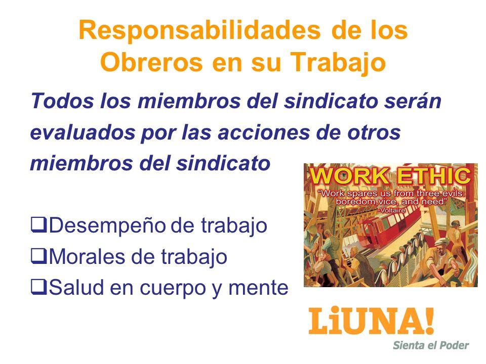 Responsabilidades de los Obreros en su Trabajo Todos los miembros del sindicato serán evaluados por las acciones de otros miembros del sindicato Desempeño de trabajo Morales de trabajo Salud en cuerpo y mente