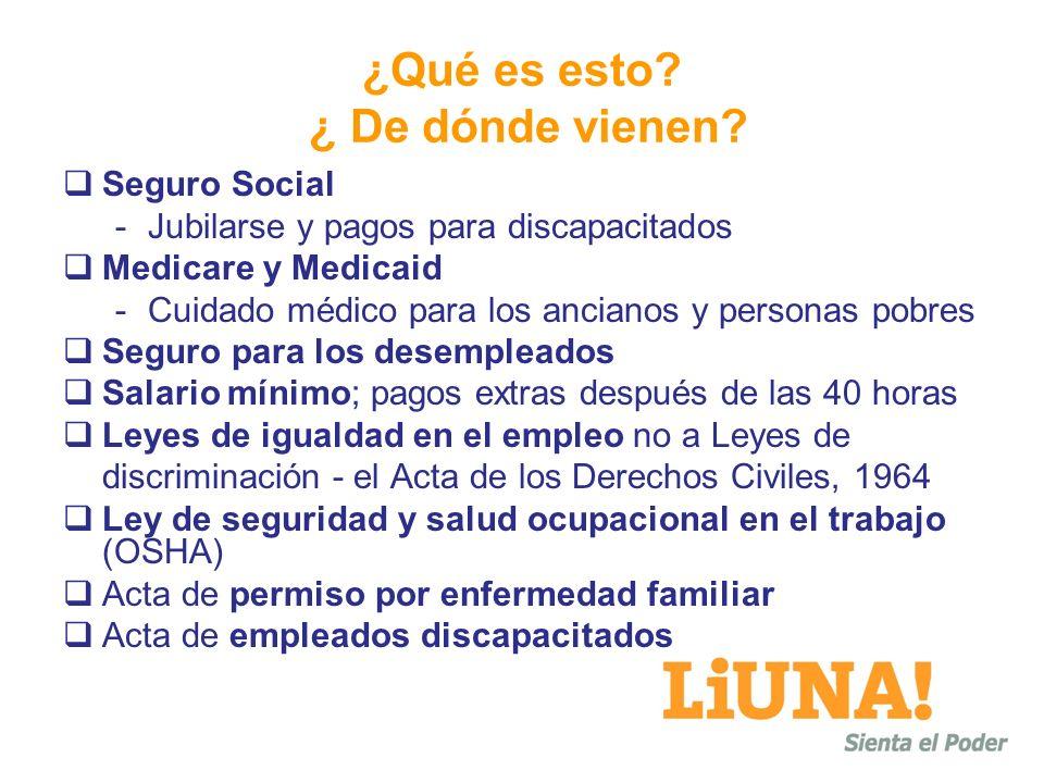 ¿Qué es esto? ¿ De dónde vienen? Seguro Social -Jubilarse y pagos para discapacitados Medicare y Medicaid -Cuidado médico para los ancianos y personas