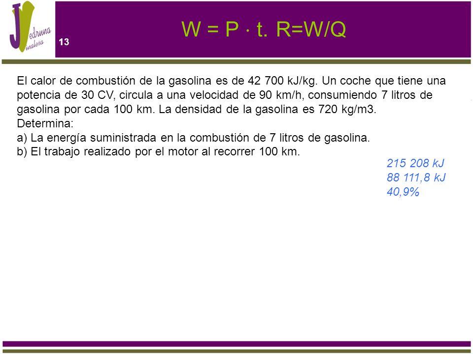 13 W = P t.R=W/Q El calor de combustión de la gasolina es de 42 700 kJ/kg. Un coche que tiene una potencia de 30 CV, circula a una velocidad de 90 km/