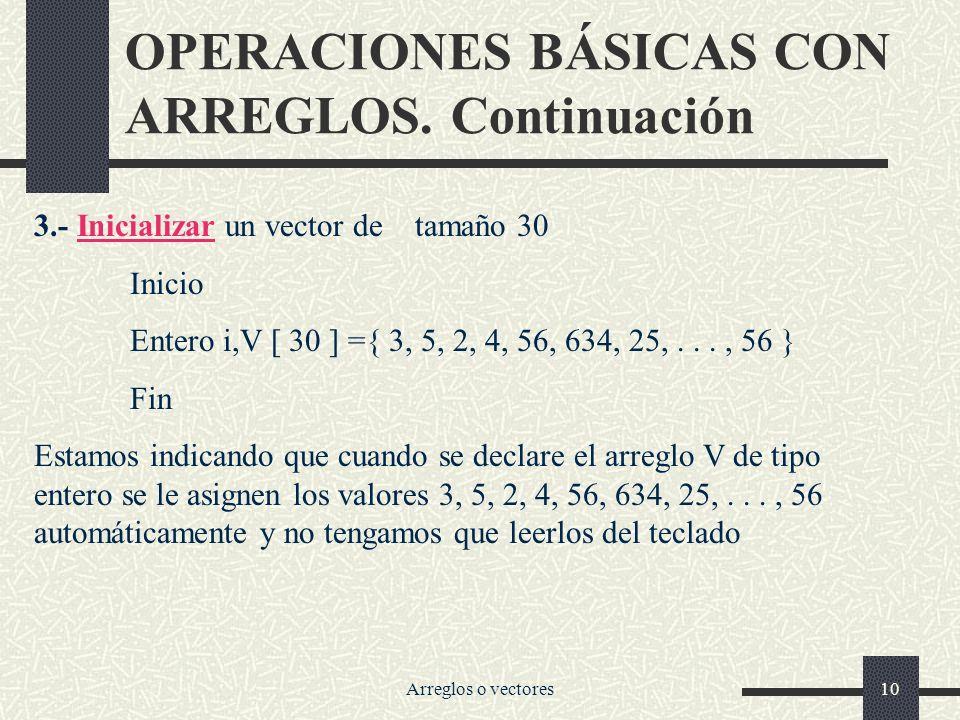 Arreglos o vectores10 OPERACIONES BÁSICAS CON ARREGLOS.