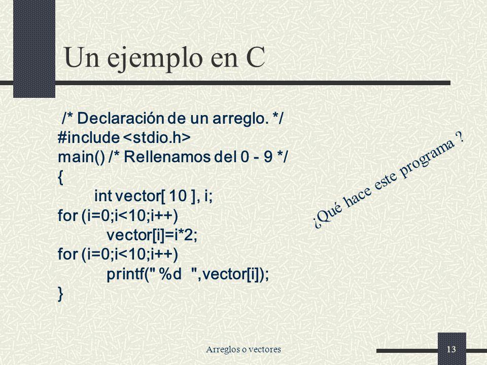 Arreglos o vectores13 Un ejemplo en C /* Declaración de un arreglo.