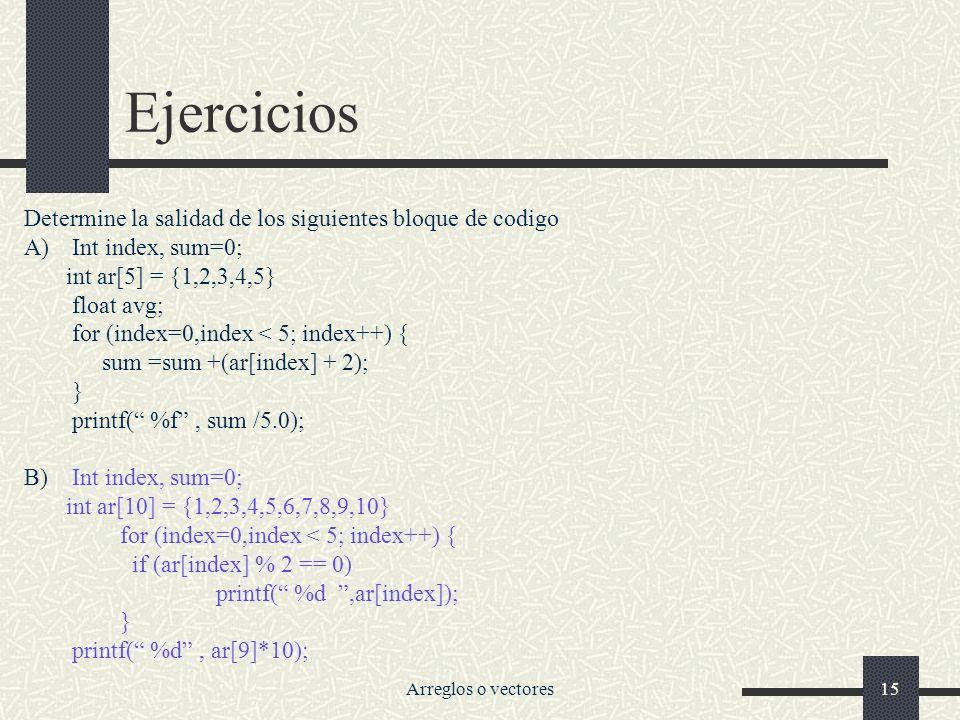 Arreglos o vectores15 Ejercicios Determine la salidad de los siguientes bloque de codigo A)Int index, sum=0; int ar[5] = {1,2,3,4,5} float avg; for (index=0,index < 5; index++) { sum =sum +(ar[index] + 2); } printf( %f, sum /5.0); B)Int index, sum=0; int ar[10] = {1,2,3,4,5,6,7,8,9,10} for (index=0,index < 5; index++) { if (ar[index] % 2 == 0) printf( %d,ar[index]); } printf( %d, ar[9]*10);