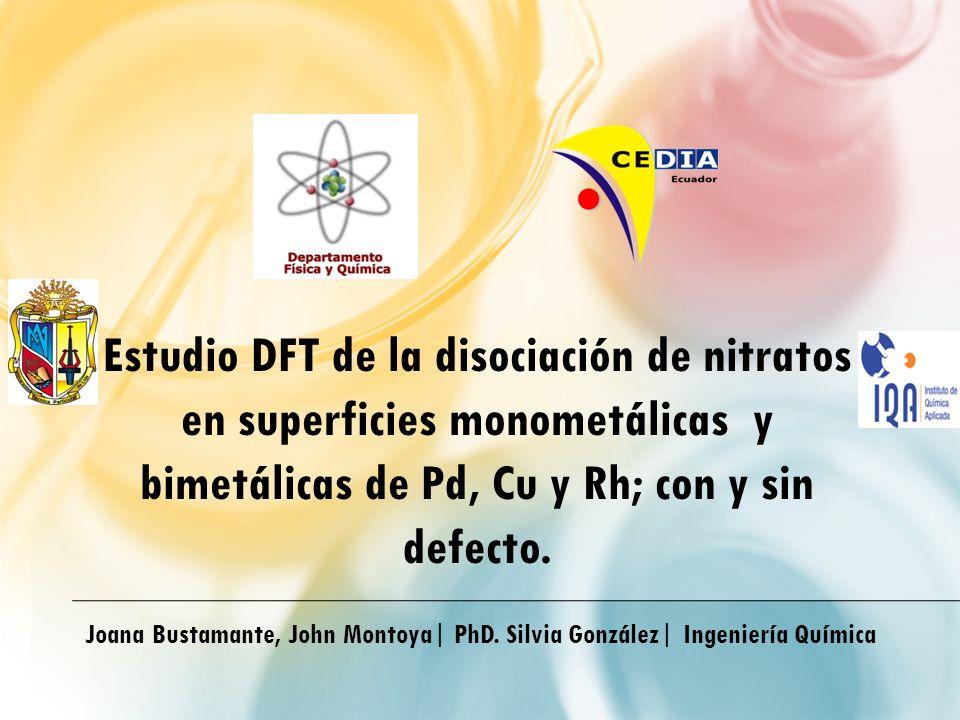 Joana Bustamante, John Montoya| PhD. Silvia González| Ingeniería Química Estudio DFT de la disociación de nitratos en superficies monometálicas y bime
