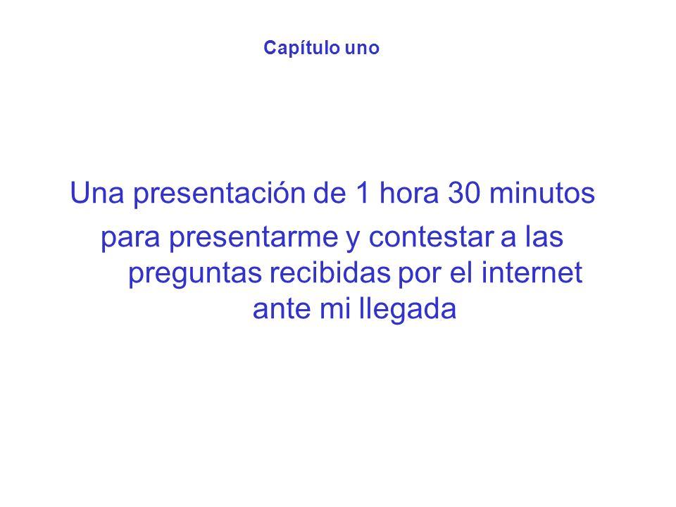 Capítulo uno Una presentación de 1 hora 30 minutos para presentarme y contestar a las preguntas recibidas por el internet ante mi llegada