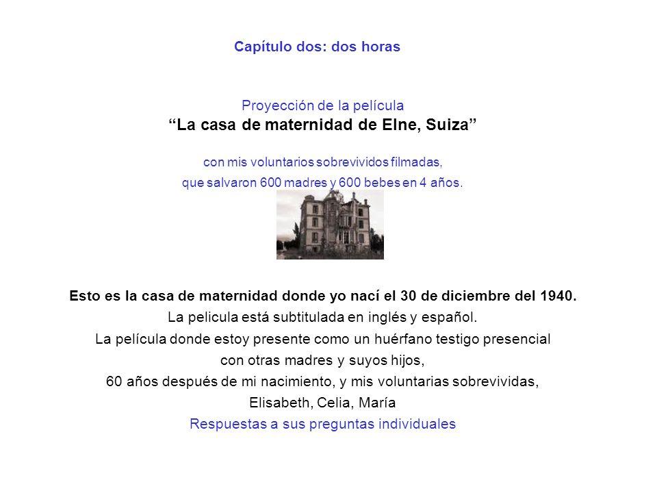 Capítulo dos: dos horas Proyección de la película La casa de maternidad de Elne, Suiza con mis voluntarios sobrevividos filmadas, que salvaron 600 mad