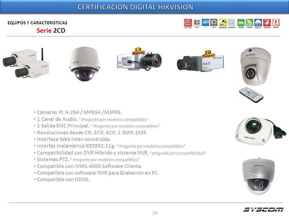 10 EQUIPOS Y CARACTERISTICAS Cámaras IP, H.264 / MPEG4 /MJPEG. 1 Canal de Audio. Pregunte por modelos compatibles 1 Salida BNC Principal. Pregunte por