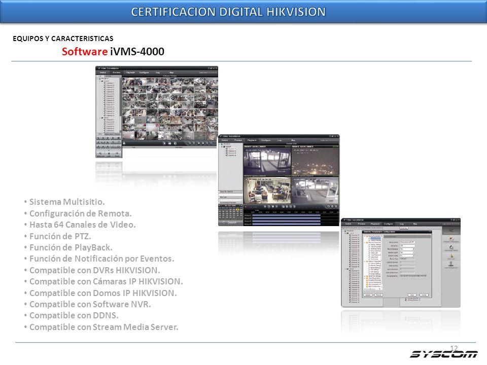 12 EQUIPOS Y CARACTERISTICAS Software iVMS-4000 Sistema Multisitio. Configuración de Remota. Hasta 64 Canales de Video. Función de PTZ. Función de Pla