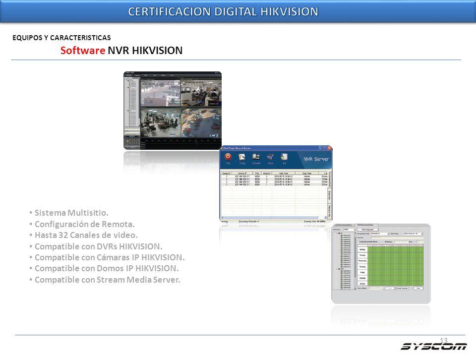 13 EQUIPOS Y CARACTERISTICAS Software NVR HIKVISION Sistema Multisitio. Configuración de Remota. Hasta 32 Canales de video. Compatible con DVRs HIKVIS