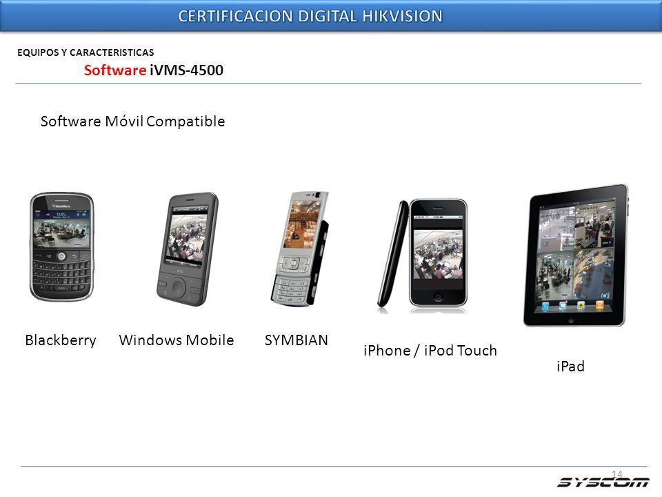 14 EQUIPOS Y CARACTERISTICAS Software iVMS-4500 Software Móvil Compatible BlackberryWindows MobileSYMBIAN iPhone / iPod Touch iPad