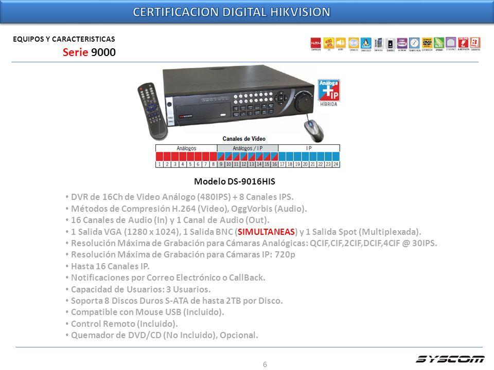 6 EQUIPOS Y CARACTERISTICAS Modelo DS-9016HIS DVR de 16Ch de Video Análogo (480IPS) + 8 Canales IPS. Métodos de Compresión H.264 (Video), OggVorbis (A
