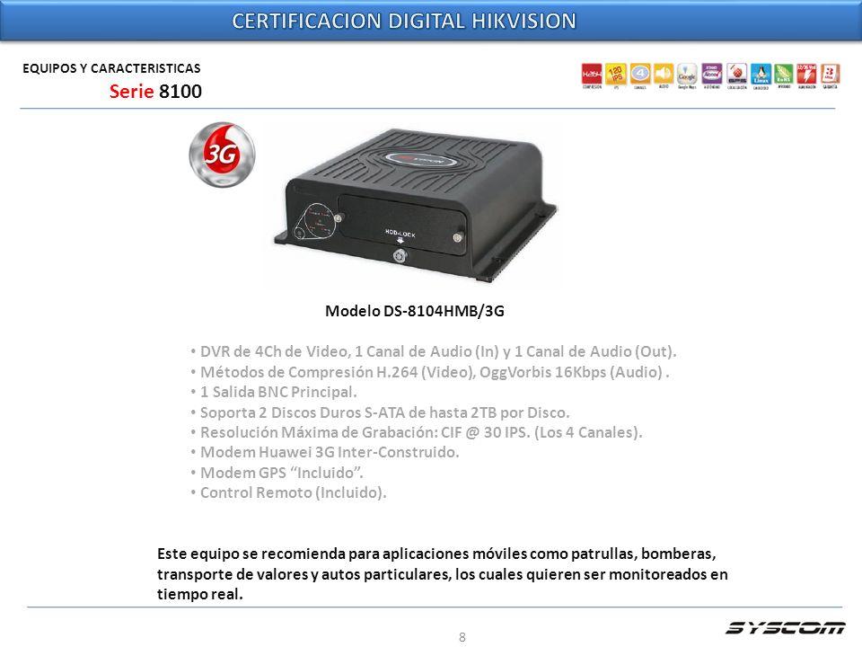 8 EQUIPOS Y CARACTERISTICAS Modelo DS-8104HMB/3G DVR de 4Ch de Video, 1 Canal de Audio (In) y 1 Canal de Audio (Out). Métodos de Compresión H.264 (Vid