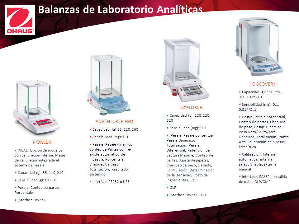 Balanzas de Laboratorio Analíticas EXPLORER Capacidad (g): 120, 220, 320 Sensibilidad (mg): 0. 1 Pesaje, Pesaje porcentual, Pesaje Dinámico, Totalizac