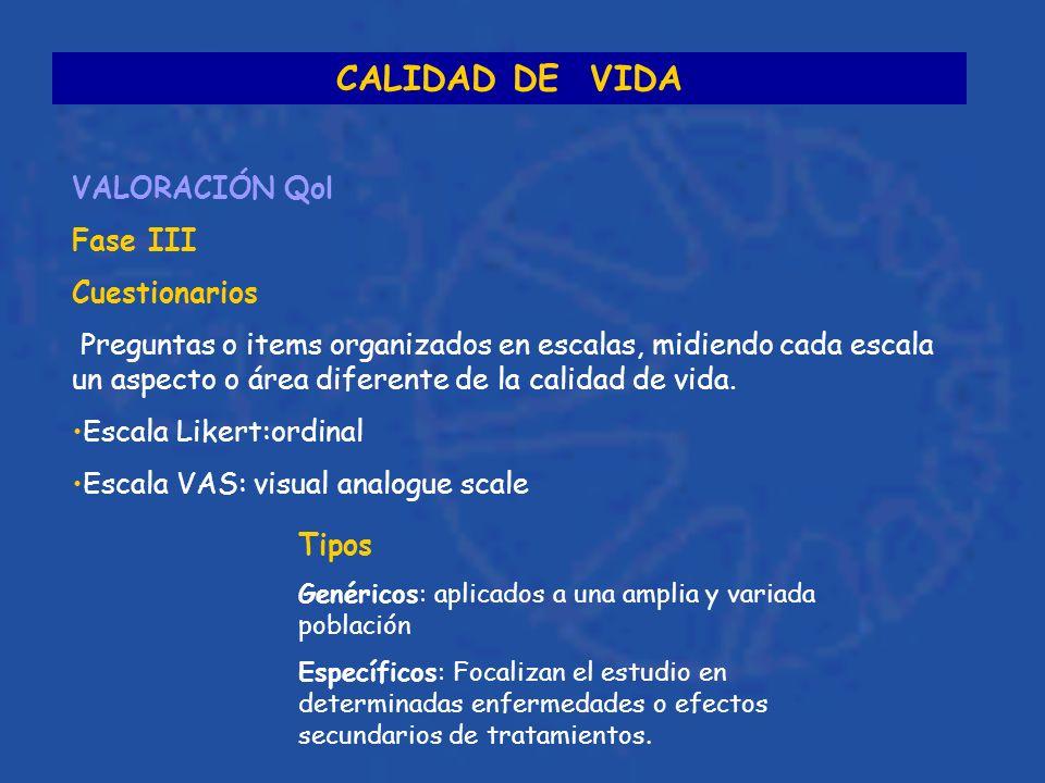 CALIDAD DE VIDA VALORACIÓN Qol Fase III Cuestionarios Preguntas o items organizados en escalas, midiendo cada escala un aspecto o área diferente de la calidad de vida.