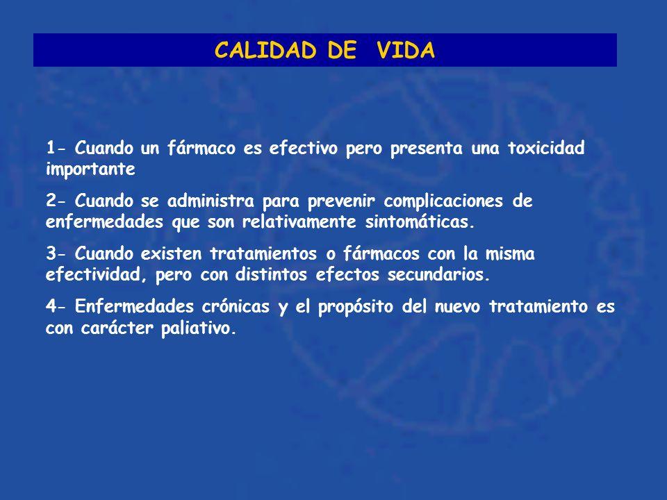 CALIDAD DE VIDA 1- Cuando un fármaco es efectivo pero presenta una toxicidad importante 2- Cuando se administra para prevenir complicaciones de enfermedades que son relativamente sintomáticas.